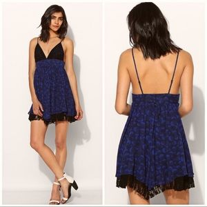 Summer Strappy asymmetrical dress with lace trim